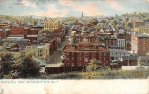 Staunton Virginia Birdseye View Of City Antique Postcard K32411