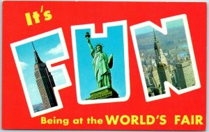 It's FUN Being at the World's Fair Large Letter Postcard 1964 New York Chrome