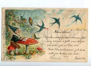 184834 GNOME Dwarf MUSHROOM & SWALLOW Vintage LITHO PC