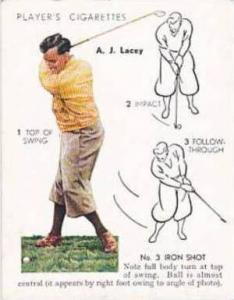 Player Vintage Cigarette Card Golf 1939 No 19 No 3 Iron Shot A J Lacey
