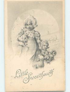 Pre-1907 signed CUTE GIRL CARRYING A BUNNY RABBIT BESIDE BABY LAMB HL4892