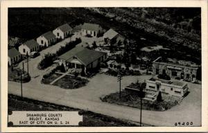 Beloit KS~Aerial Vw~Shamburg Motor Courts (Motel)~Cafe~Fried Chicken~1930s Cars