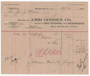 1901 Billhead, AMZI GODDEN CO., Druggist & Seedsmen, Birmingham, Alabama