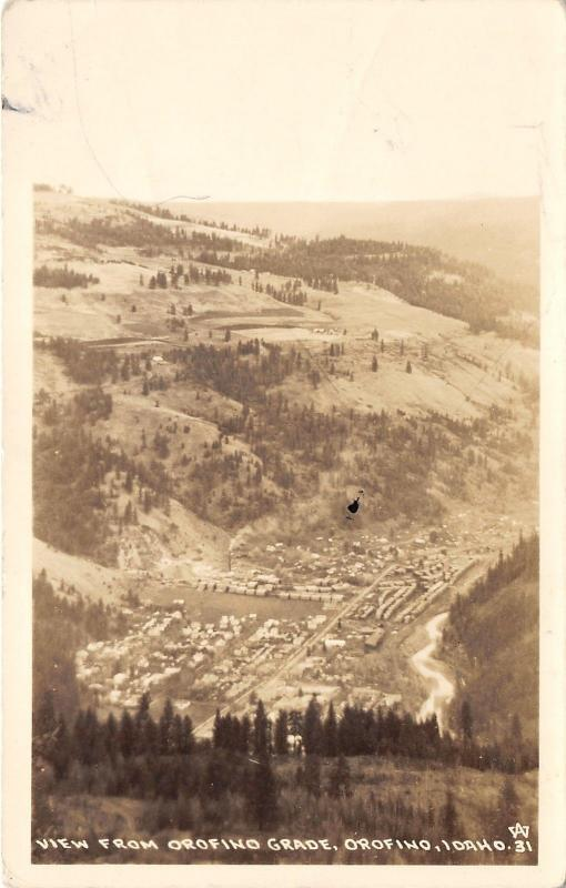 Orofino Idaho Aerial View from Orofino Grade~Wilderness Bknd~c1930s RPPC