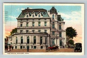 Hartford CT-Connecticut, Post Office Building Period Cars Vintage c1922 Postcard