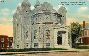 Kansas City Prospect Ave & 29th~Stone Congregational Chuch & Neighbors Postcard