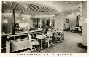Cunard Lines - RMS Queen Elizabeth. **RPPC**  Observation Lounge and Cocktail...