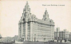 LIVERPOOL ENGLAND~ROYAL LIVER BUILDINGS-PIER HEAD POSTCARD