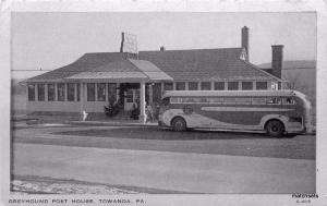 1940s Bus Station Greyhound Towanda Pennsylvania Clear View postcard 1727