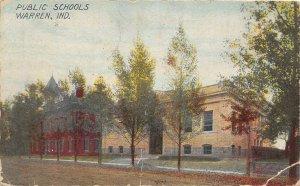 F73/ Warren Indiana Postcard 1911 Public Schools Building