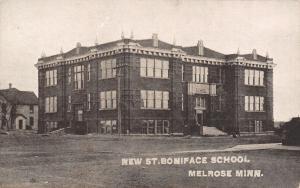 Melrose Minnesota~St Boniface School~Old One Burned Down~House Behind~1912 PC