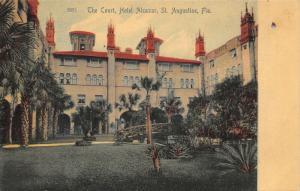 St Augustine Florida~Hotel Alcazar~ Court Yard Interior~Rustic Foot Bridge~c1905