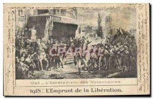 Postcard Old 1918 Loan of Liberation in 1792 enlistment of volunteers