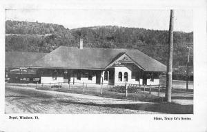 Windsor Vermont Depot Historic Bldg Railroad Antique Postcard K16178
