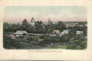 tonga, Friendly Isles, NUKUALOFA, Partial View (1899) Embossed
