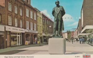 Elgar Statue Worcester Shopping Precinct 1970s Postcard