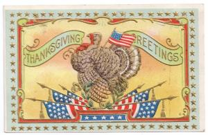 Vintage Patriotic Thanksgiving Postcard Turkey Gold Star Frame Flags Embossed