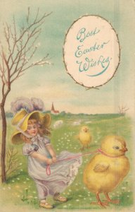 Best Easter Wishes - Girl Walking a Chick - Max Feinberg 1910 - 03.94