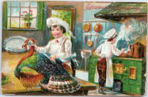 Thanksgiving Greetings - preparing to clean and cook the turkey in kitchen