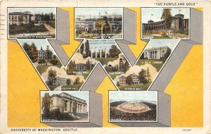 G33/ Seattle University of Washington Postcard W Multiview Purple Gold 2