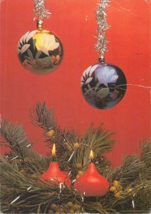 Holidays christmas candles globes  Postcard