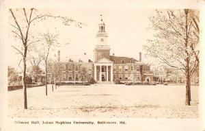Baltimore Maryland Hopkins University Gilman Hall Real Photo Postcard J60049