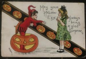 1910 Burns NY Usa Picture Postcard PPC Cover Halloween Always Bring A Surprise