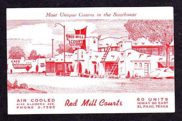 TX Red Mill Court Motel & Cafe EL PASO TEXAS Postcard