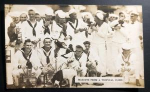 Mint USA Real Picture Postcard RPPC US Navy Marines USS Utah 1923 Mascots Tropic