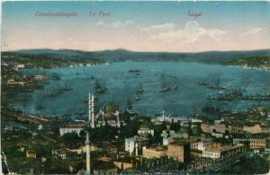 Turkey Constantinople Istanbul harbour panorama early postcard