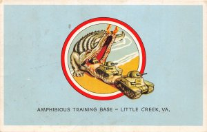 F74/ Patriotic Postcard c1944 Little Creek Virginia Alligator Tanks Base 4