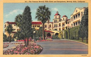 The Famous Beverly Hills Hotel, Beverly Hills, CA., Early Linen Postcard, Unused