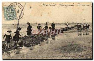 Old Postcard Trouville Sur mussel fishermen Pelits sea and shrimps
