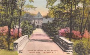 Oscawana New York~Valeria Home~Stone Bridge~Front Entrance~1930s Handcolored