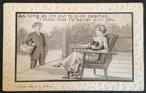 "Vintage Postcard Used Embossed Edge Couple ""Pick Peaches...""  LB"