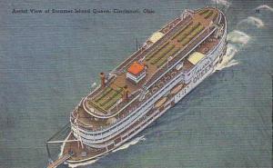 Aerial view of Steamer Island Queen, Cincinnati, Ohio,  30-40s