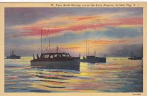 New Jersey Atlantic City Tuna Boats Starting Out In The Early Morning 1941 Cu...