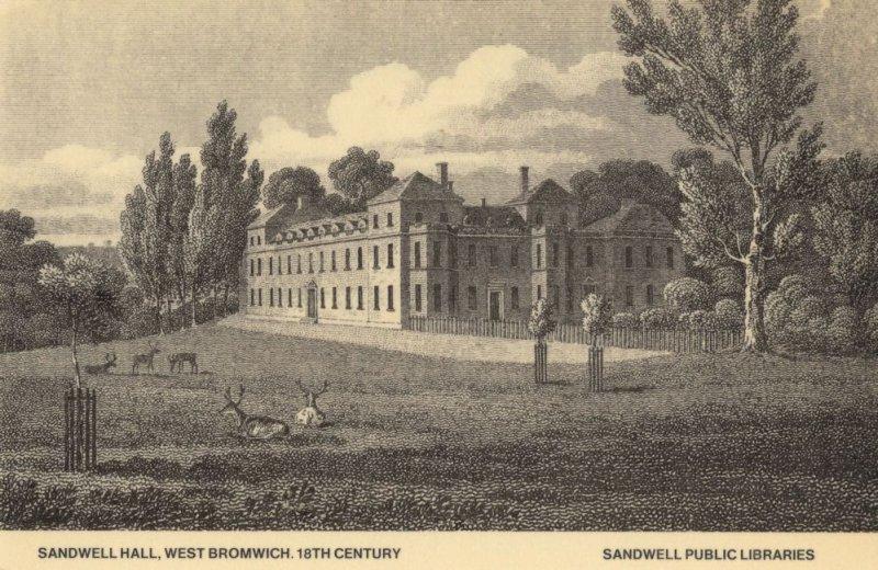 Sandwell Hall West Bromwich Victorian Library Staffs Postcard