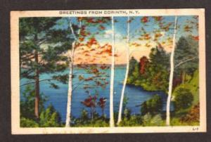 NY Greetings from CORINTH NEW YORK Postcard Linen PC