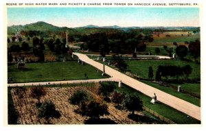 Pennsylvania  Gettysburg High Water mark & Pickett's Charge from Tower H...