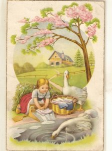 Little ghirl washing in river. Gooses Lovely viontage Spanish postcard