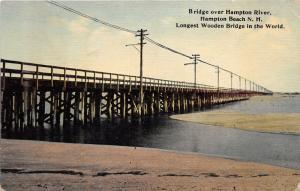 Hampton Beach New Hampshire~Wooden Bridge over Hampton River~1912 Postcard