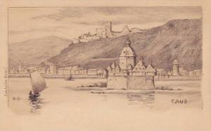 Sailboat, Castle, Caub (Rhineland-Palatinate), Germany, 1910-1920s