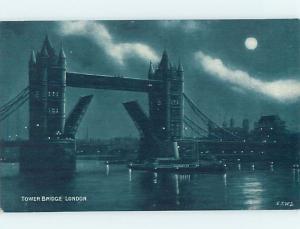 Unused Old Postcard TOWER BRIDGE Night View Of London England UK F5346