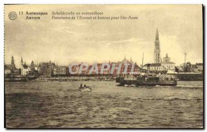 Old Postcard Panorama of Antwerp & # 39Escaut and boat to Ste Anne