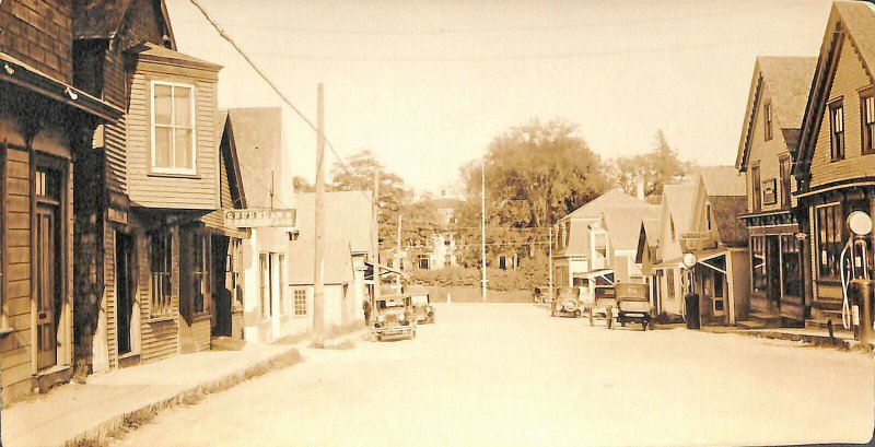 Deer Isle ME Storefronts Gas Pumps Old Cars,  3.5 x 6. 5 Real Photo Postcard