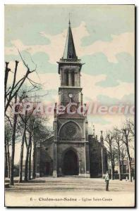 Old Postcard Chalon sur Saone Church St. Cosne