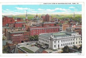 York PA Business District Birds Eye View Vintage Postcard