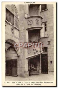 Riom - Court of Cage & # 39escalier near Renaissance Tower has & # 39Horloge ...