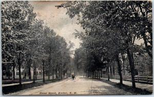 Exeter, New Hampshire Postcard FRONT STREET Residential Street Scene 1908 Cancel